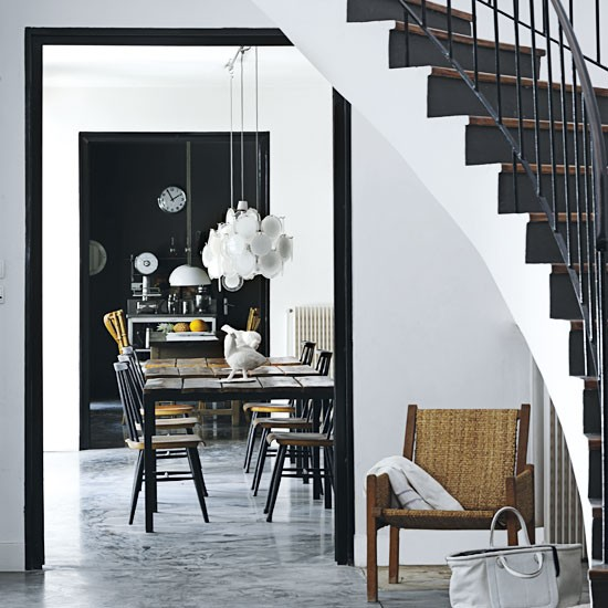 dining room meets open hallway