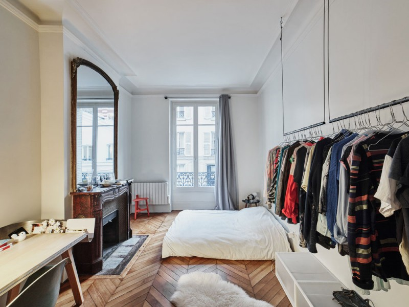 glass and walnut parisian loft by cut architectures, bedroom