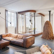 glass and walnut parisian loft by cut architectures, interior