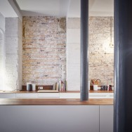 glass and walnut parisian loft by cut architectures, kitchen