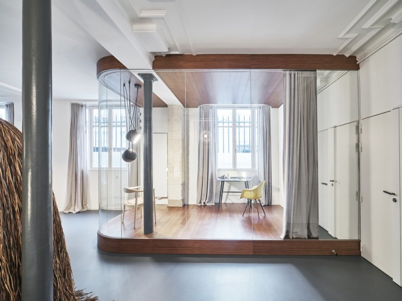 glass and walnut parisian loft by cut architectures, show your room