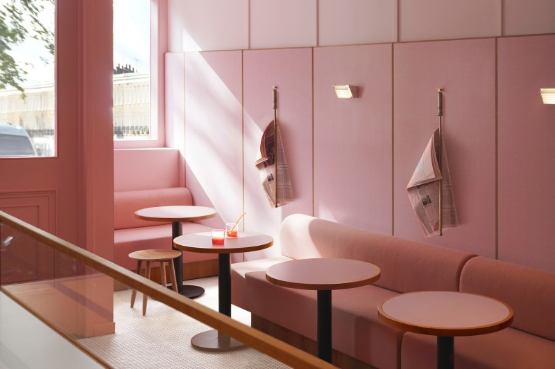 The designers from Child Studio worked with Formica factory to recreate the original 'linen' pattern design popular in the 1970s, opting for a suitably 'Millennial pink' shade.