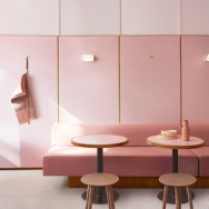 Humble. The interior is clad in wall-to-wall pink Formica.